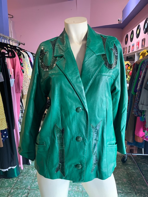 1980s Green Leather Jacket