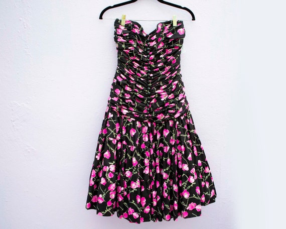 Vintage Victor Costa strapless flower dress