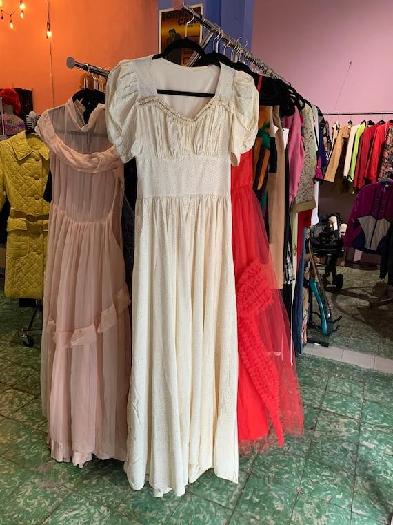 1940s Off White Dress