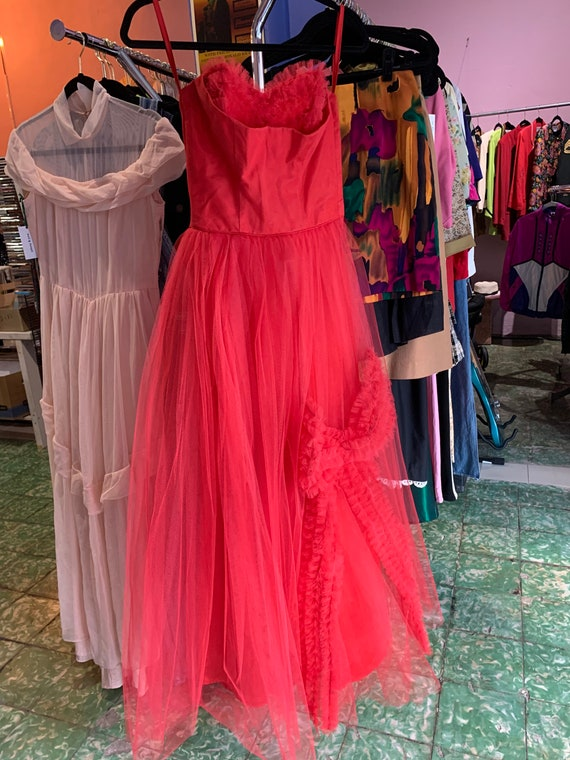 Vintage 50s Emma Domb Strapless Gown