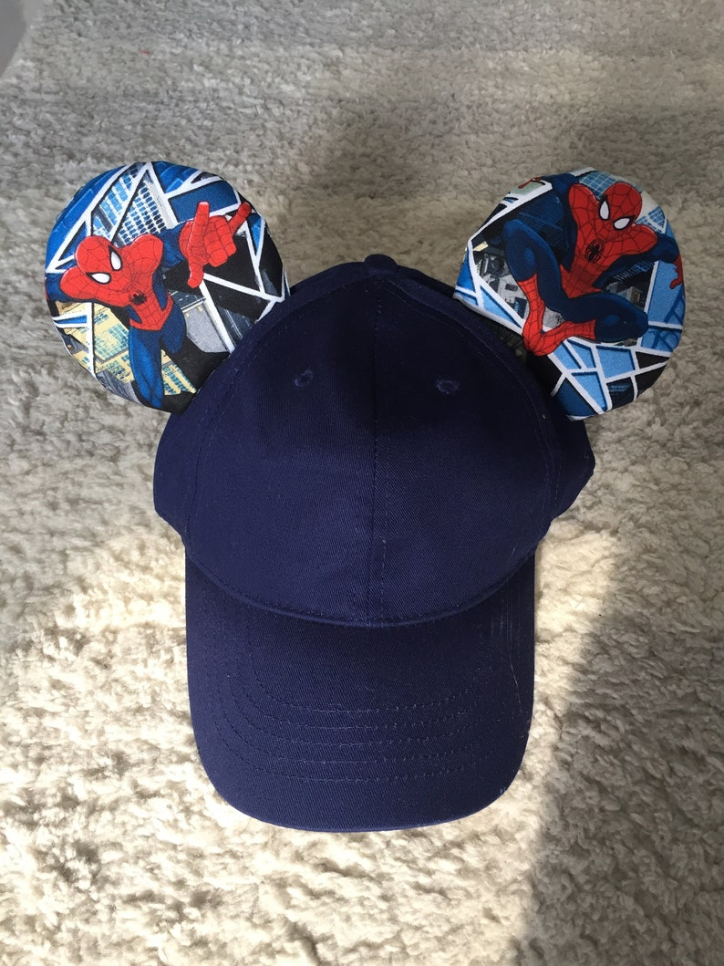 Spiderman Inspired Mickey Mouse Baseball Caps Ears Adult  2deedb0cc05