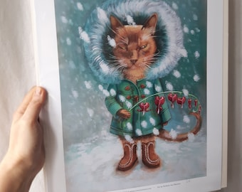 Violin and Deer in the Snowy Mountains Art Poster with Music-making Korean Angel Print in A3 format