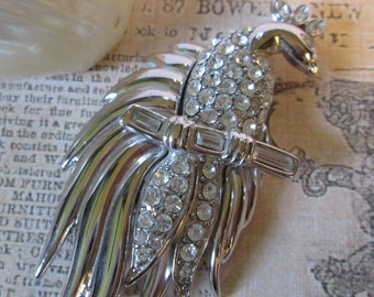 """Large Vintage Exotic BIRD Pin/Brooch w clear facetted rhinestones*signed MONET*silvertone*2-3/4"""" tall*9960"""