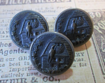 "Set of 3 Matching VINTAGE Metal PICTURE/STORY Buttons*Barn Swallow on Her Nest*Bird* 5/8"" across     (9769)"