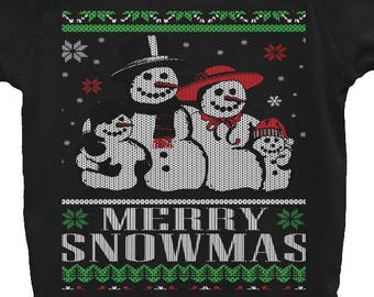 Merry Snowmas Snowman Family Infant Bodysuit
