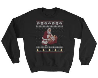 Santa Claus And Baby Jesus In The Manger Ugly Christmas Sweater Style Christmas  Sweatshirt