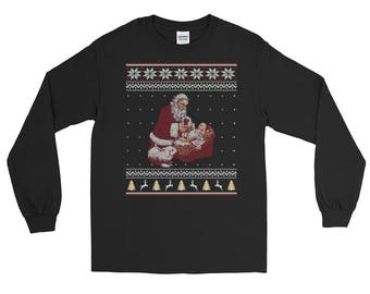 Santa Claus And Baby Jesus In The Manger Ugly Christmas Sweater Style Christmas Long Sleeve T-Shirt