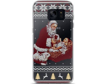 Santa Claus And Baby Jesus In The Manger Ugly Christmas Sweater Style Christmas Samsung Case