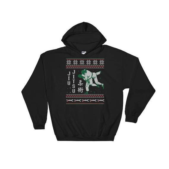 Jiu Jitsu Bjj Ugly Christmas Sweater Style Design Hooded Sweatshirt