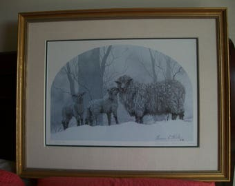 """Collectible Art, Geneva Welch nationally known artist, Signed, numbered, matted &framed 1989 Limited Edition Print entitled """"Mom with Lambs"""""""