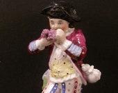 1800s German Porcelain Meissen Dresden Boy Figure Pen Stand Holder Figurine Ink