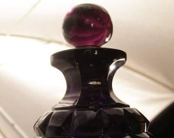 1800's Diamond Block Purple Glass Blown Apothecary Cologne Bottle EAPG Pattern