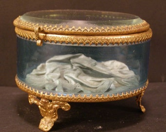 19c Victorian Bronze BLUE Glass Jewelry Casket Trinket Dresser Vanity Powder Box