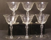 20 39 s LIBBEY Cut Etched Crystal Wine Glass Goblet Stem Engraved Stemware Art Deco