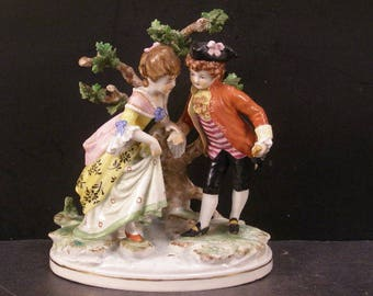 19th c Victorian Meissen Sitzendorf German Porcelain HP Figure Group Statue Tree