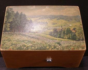 Vintage Swiss 2 Tune Thorens Wood Music Box Jewelry Casket Scenic Landscape A228