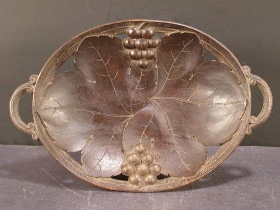 1800s Carved Walnut Wood German Black Forrest Music Box Dish Center Pc Bowl  Tray
