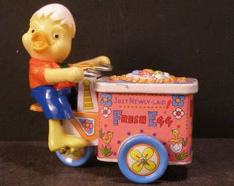 40s Japanese Duck Chick Tin Wind Up Toy Fresh Egg Bike Cart Mechanical Clockwork