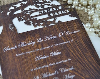 Romantic Laser Cut Wedding invitation Customized Love Story Tree