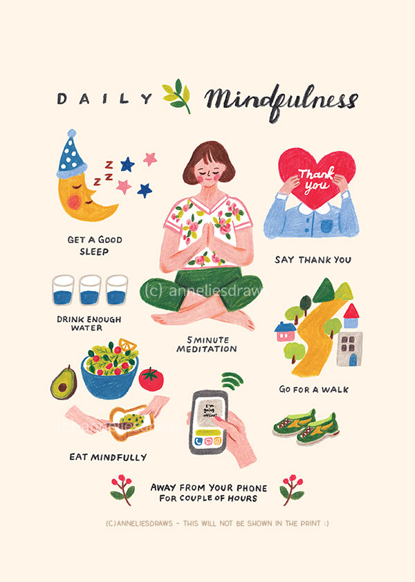 Daily mindfulness – illustration print / mindful living poster.