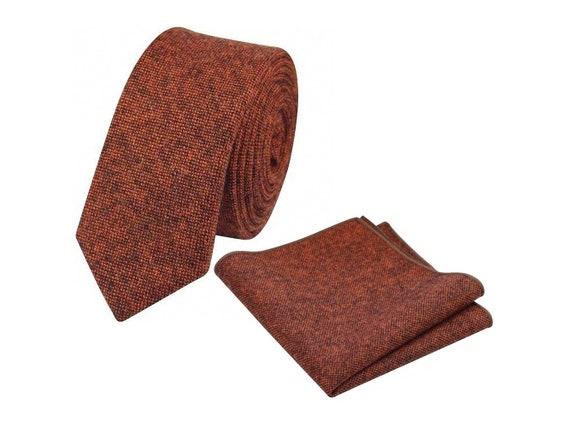 Mens /& Boys Matching Burgundy Slim Herringbone Tweed Tie and Pocket Square Set