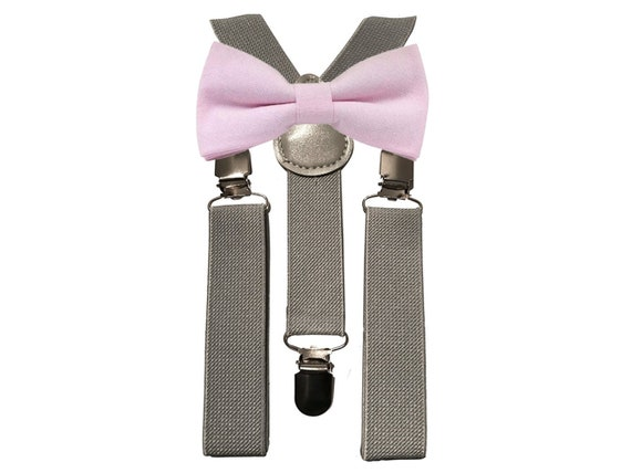 Faye Cotton Candy Pink Boys Bow Tie and Grey Braces Pageboy Gifts Gifts Bow Ties for Boys Christmas Gift Wedding Attire Suspenders