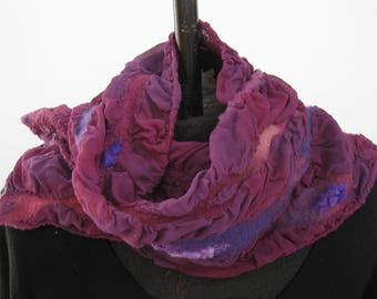 Deep Purple Nuno Felt Silk Scarf
