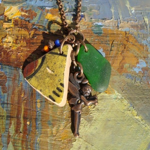 Boho Style necklace-Sea Glass necklace-Yellow Sea Pottery Charm-Copper Jewelry-Christmas gift-gift for her-Handmade in Italy