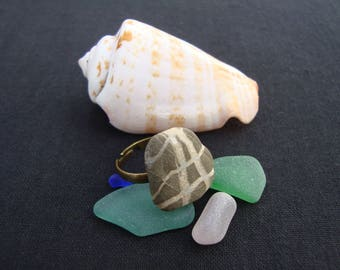 Ring with sea stone-adjustable ring-boho Style ring-striped stone ring-boho Jewelry-Gift for Her