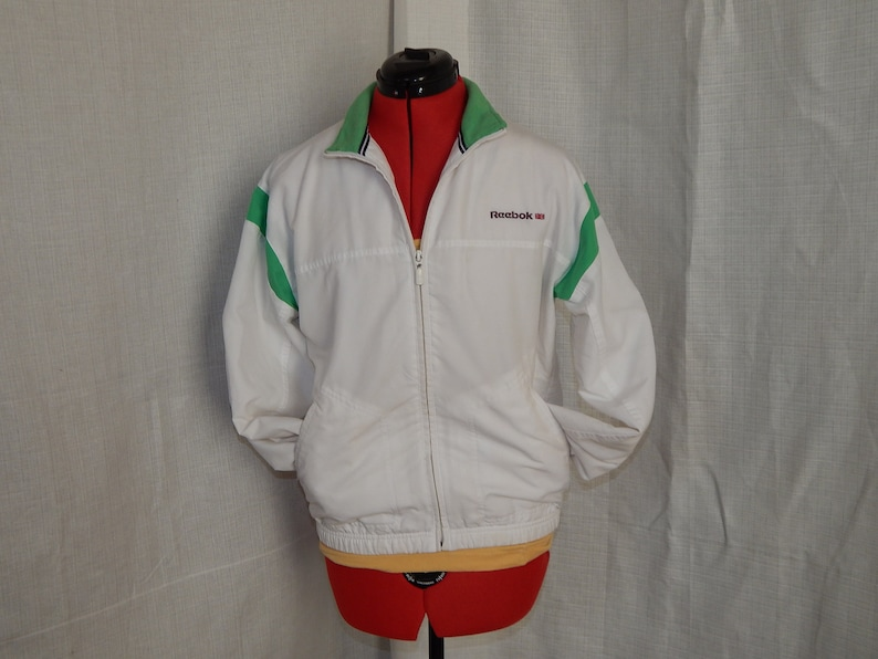 f1c9f573a Vintage Reebok Classics White Green Size Small Zip Up Athletic | Etsy