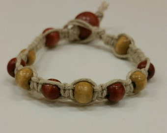 Handmade hemp bracelet with wooden beads