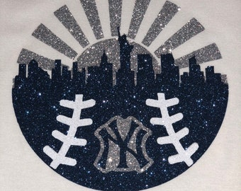 43ba5b641 New York Yankees baseball glitter shirt, baseball womens shirt, yankees  women bling shirt, yankees glitter shirt, New York shirt