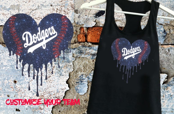 LA Dodger Bleeding Heart women's Glitter shirt