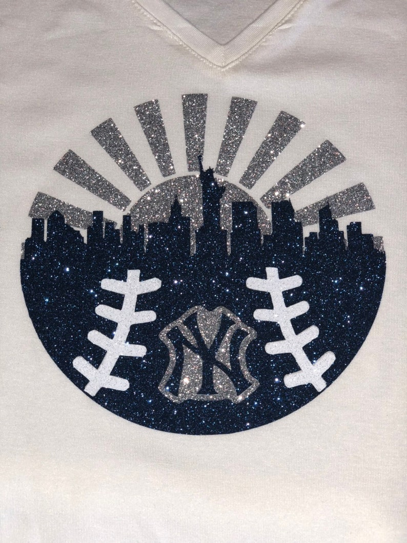 promo code fa9aa 2042e New York Yankees baseball glitter shirt, baseball womens shirt, yankees  women bling shirt, yankees glitter shirt, New York shirt
