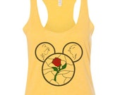 Magic Vacation Beauty and the Beast Stained Glass Rose Mickey Dyed SassyPantsTees Bella Canvas Tee Tank Top