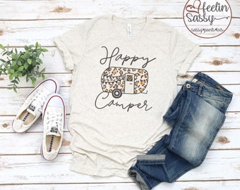 Happy Camper, Leopard, Camper, Camping is My Favorite Season, Camping tee, Funny Camping Shirt, Bella Canvas, SassyPantsTees VINTAGE DYED