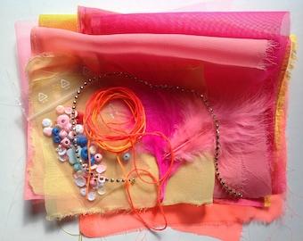 Scrap fabric kit for mixed media