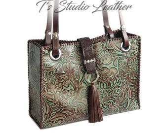 65202d9be5 Floral Tooled Leather Tote in Turquoise and Brown - Hand Whiptstitched Purse