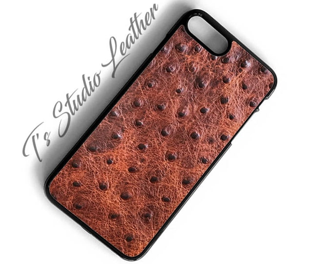 Cognac Brown Ostrich Print Leather Phone Case Genuine Cowhide Emu Print Texture Several colors available for iPhone or Samsung