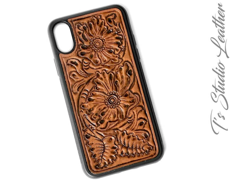 pretty nice 120cf a4d1d Hand Tooled Leather iPhone Case - Western Style floral case for iPhone 7, 7  Plus, 8, 8 Plus, X, XR, XS Max