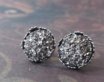 gunmetal druzy earrings, mother gift from daughter, best selling items, prom earrings, teen earrings, post earrings, college student gift