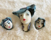 80 39 s Vintage Lady Head Brooch Her Matching Kids As Earrings-Resin Faces And Detail Flapper Style with Electric Blue Hats and Bonnets