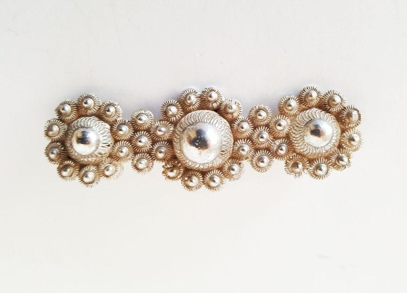 Vintage 40s Large Dutch Bar Pin Silver Filigree Dutch Heritage Zeeuwse Knoop Klederdracht Jewelry