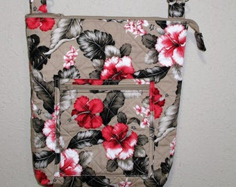 Tan Hibiscus Hawaiian Print Quilted Messenger Style Cross Body Purse