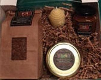 Premium Selections Gift Box - Chaga Tea, Beehive Votive Candle, Jar Spruce Tip Jelly, Jar of Raw Honey