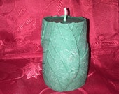 Holiday. 5.5 inch Balsom Fir Scented Bees Wax Folded Leaf Pillar Candle