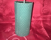Holiday Balsam Fir Sented 6 inch Honey Comb Pattern Bees Wax Pillar Candle