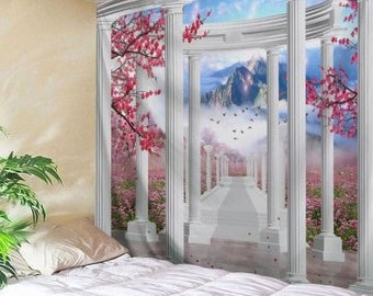 Tapestry Wall Hanging Pavillion and flowers
