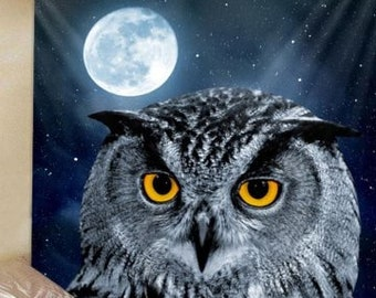 Tapestry Wall Hanging Moon Night Owl