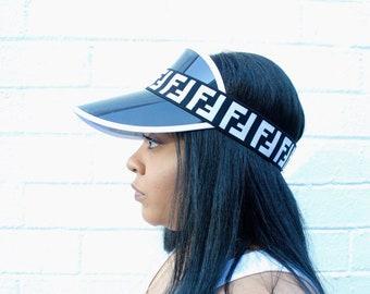 57b411b2f5e Inspired Fendi FF Visor Elastic Black   White Strap Fendi Inspired Headband  Designer Inspired Sun Visor Elastic Black Multicolor Visor